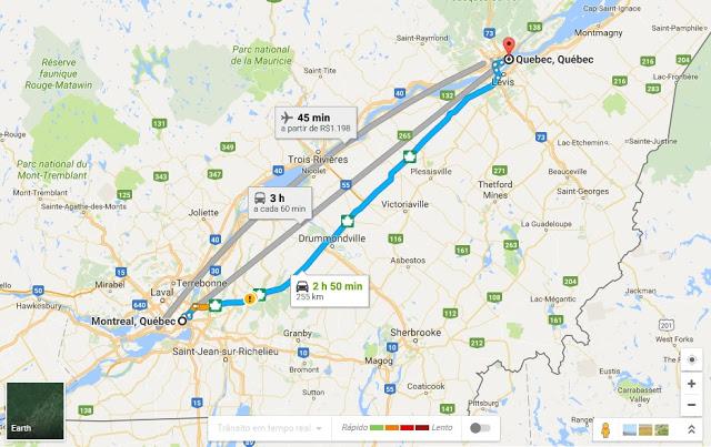 Viagem de carro de Quebec a Montreal