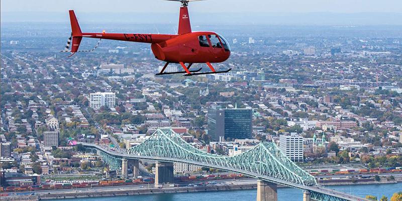 Vista do passeio de helicóptero em Montreal