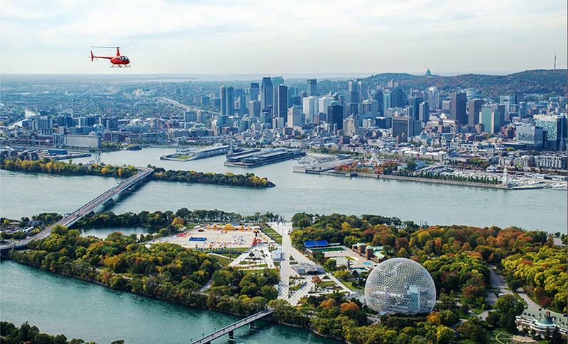 Cenário do passeio de helicóptero em Montreal